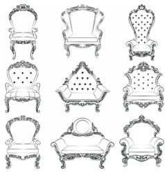 Baroque luxury style armchair furniture set vector