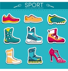 Big collection set of sport shoe equpment vector