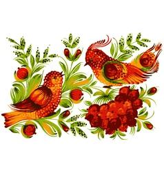 Bird viburnum and flower vector image vector image