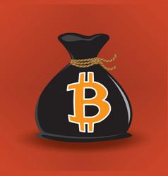 black bitcoin money bag vector image vector image