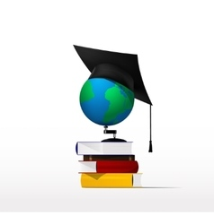Books and globe vector image vector image