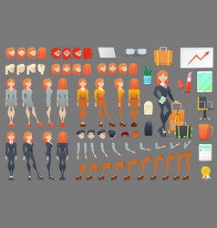 business woman character creation constructor vector image vector image