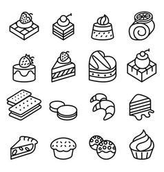 Cake dessert bakery icon set in thin line style vector