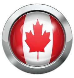 Canada flag metal button vector image vector image