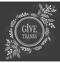 Card for thanksgiving day on the blackboard vector