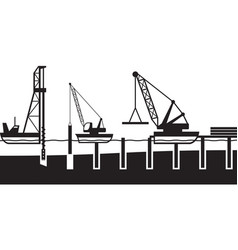 construction of sea port vector image vector image