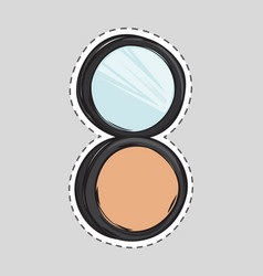 cosmetic makeup powder in black round plastic case vector image vector image