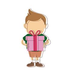 Cute little boy holding gift box fun vector