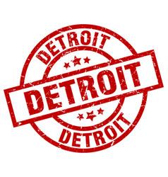 Detroit red round grunge stamp vector