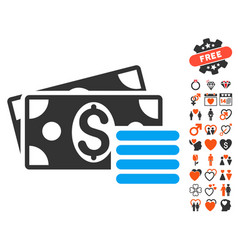 dollar cash icon with lovely bonus vector image vector image
