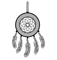 Ethnic boho dream catcher with feathers american vector
