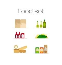 Foods market flat icons set vector