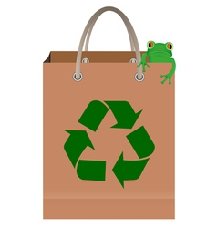 frog sitting on paper bag with recycle symbol vector image vector image