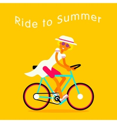 Girl on bike text vector