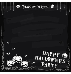 Halloween party chalkboard menu vector