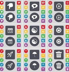 Hand chat bubble compass calendar yin-yang power vector
