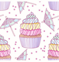 Hand drawn seamless pattern with rainbow cupcake vector