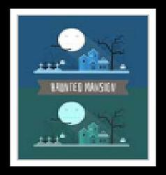 Haunted mansion halloween mystic landscape vector