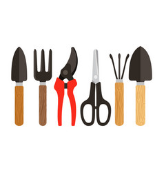 Houseplants tools flat icons vector