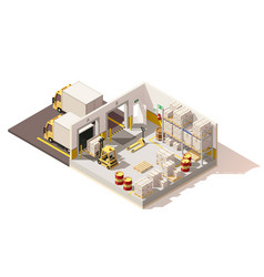 isometric low poly warehouse vector image vector image
