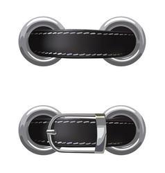 Leather belt passed through metal rings vector