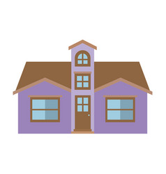Light color silhouette of facade house with attic vector