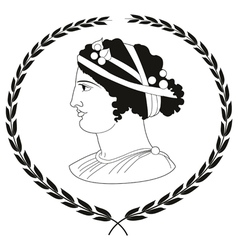 Logo with head of ancient greek women vector