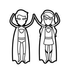 monochrome thick contour of faceless couple of vector image