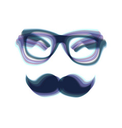 Mustache and glasses sign colorful icon vector