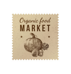 Organic food market label vector