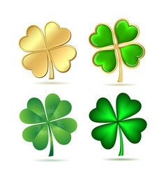 Set of four-leaf clovers isolated on white vector image vector image
