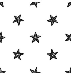 starfish pattern seamless black vector image