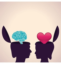 Thinking concept-human head with brain and heart vector