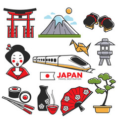 travel to japan touristic map with traditional vector image