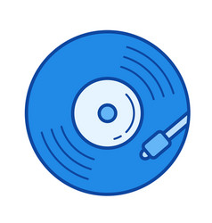 vinyl turntable line icon vector image