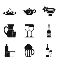 wineglass icons set simple style vector image vector image
