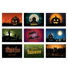Nine creepy halloween greeting card party vector