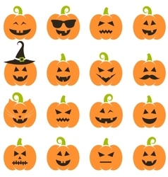Big set of halloween pumpkins vector