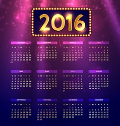 Shiny colorful 2016 calender vector