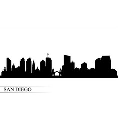 San diego city skyline silhouette background vector