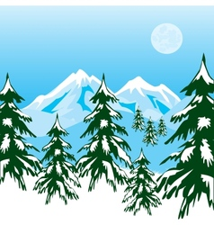 Winter in mountain vector