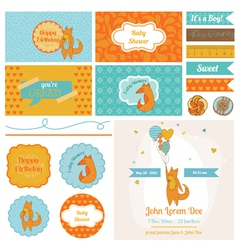 Baby shower cute foxes set - for party decoration vector