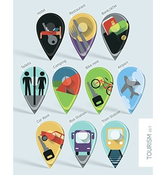 Travel map pins vector