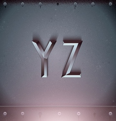 Metal embossed font from y to z vector