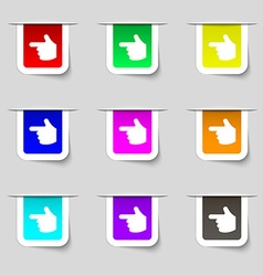 Pointing hand icon sign set of multicolored modern vector