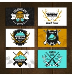 Colorful hunting cards set vector