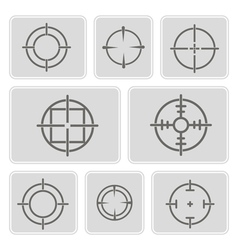 Monochrome icons with symbols of sniper scope vector