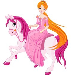 Princess riding horse vector