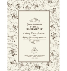 Wedding card with lily flowers vector