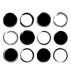 Black ink round frames vector